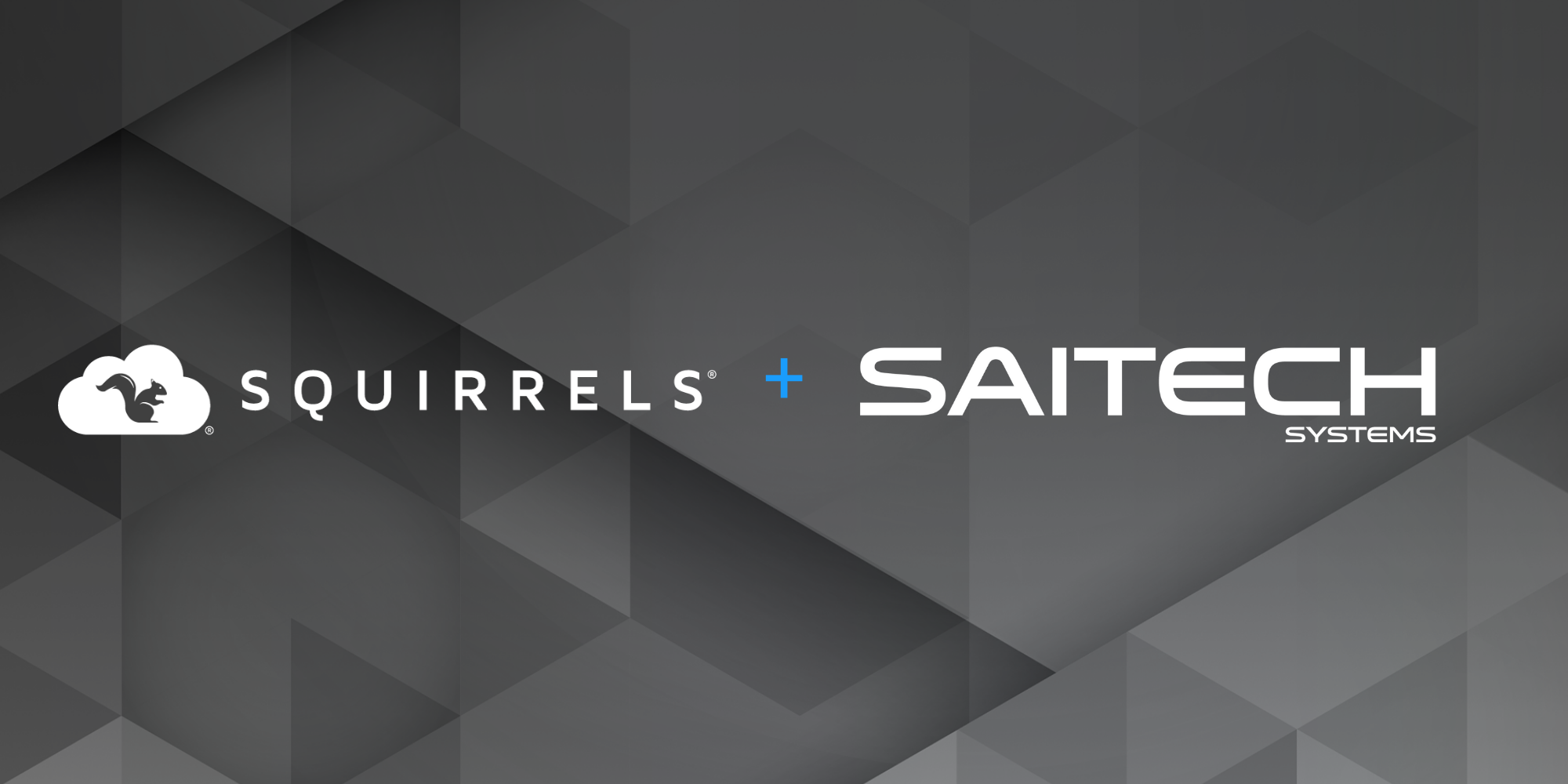 Squirrels and SAITECH Systems names on black polygon background